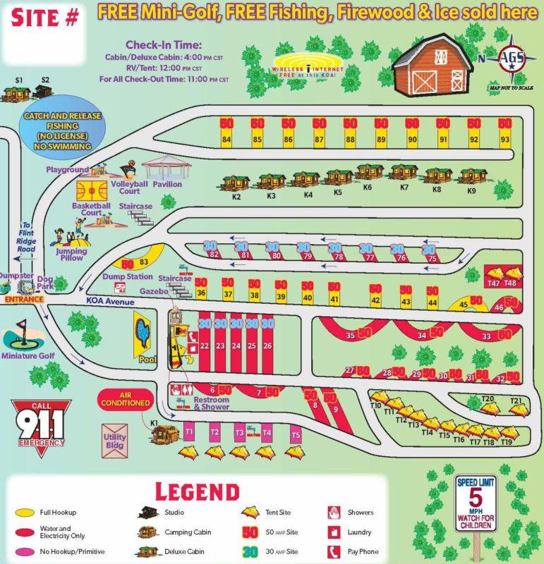 horse cave KOA map