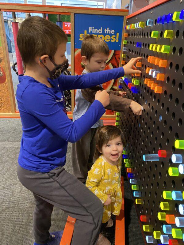 Kids on light board
